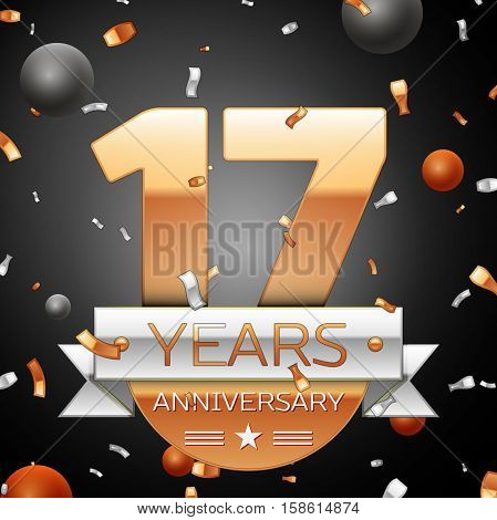 Seventeen years anniversary celebration background with silver ribbon confetti and circles. Anniversary ribbon. Vector illustration.