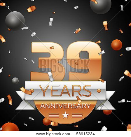 Thirty nine years anniversary celebration background with silver ribbon confetti and circles. Anniversary ribbon. Vector illustration.