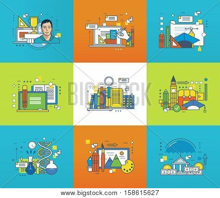 Creativity, graphic design, education and scientific research, distance learning, finance, curriculum, scientific disciplines icons set. Flat line icons for infographics design elements.