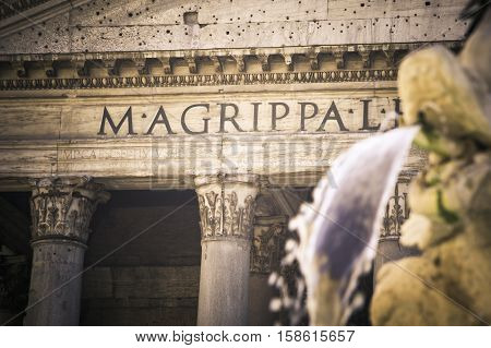 Fountain of the Pantheon (Fontana del Pantheon) at Piazza della Rotonda in Rome Italy