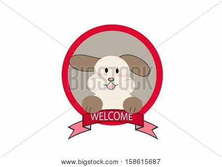 cartoon dog with welcome text sign vector