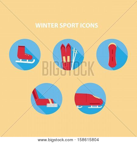 illustration of red winter sport icons on blue circle
