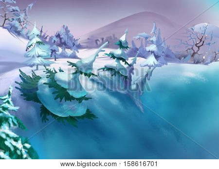 Big Ravine with Snow and Spruces in a Frosty Winter Day. Handmade illustration in a classic cartoon style.