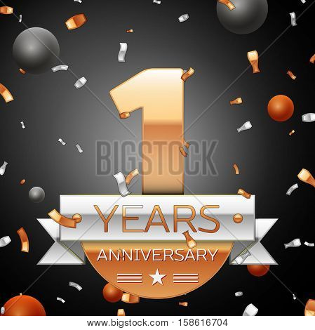 One years anniversary celebration background with silver ribbon confetti and circles. Anniversary ribbon. Vector illustration.