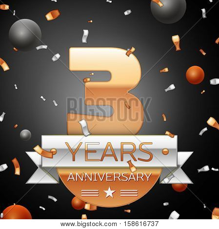 Three years anniversary celebration background with silver ribbon confetti and circles. Anniversary ribbon. Vector illustration.
