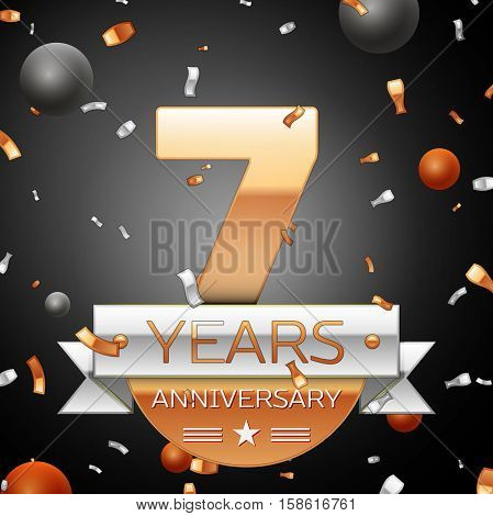 Seven years anniversary celebration background with silver ribbon confetti and circles. Anniversary ribbon. Vector illustration.