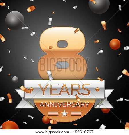 Eight years anniversary celebration background with silver ribbon confetti and circles. Anniversary ribbon. Vector illustration.