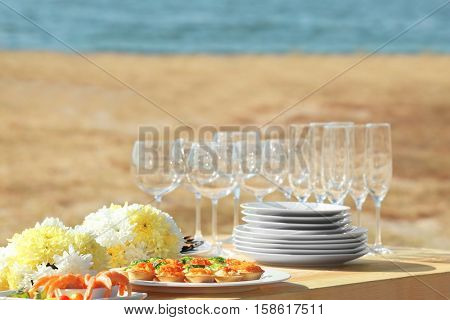 Table setting for buffet catering party, close up view