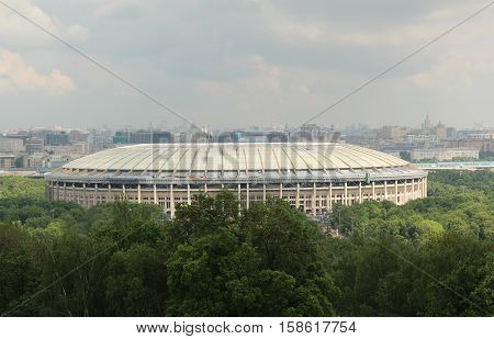 Russia, Moscow 23 May 2016, Luzhniki Stadium in Moscow, top view