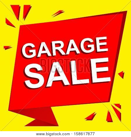 Sale poster with GARAGE SALE text. Advertising  and red vector banner template