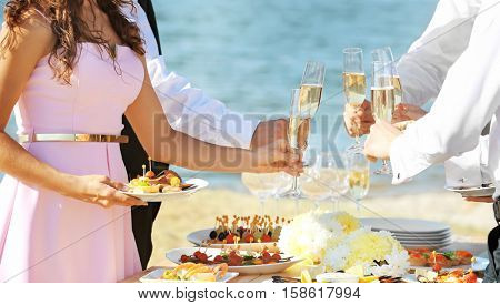 People clinking glasses at buffet catering party outdoors near river