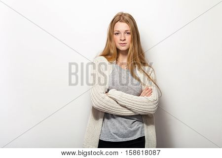 Human Pose Expressions And Emotions. Portrait Of Young Adorable Redhead Woman With Gorgeous Extra Lo