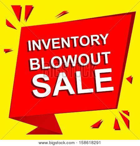 Sale poster with INVENTORY BLOWOUT SALE text. Advertising  and red vector banner template