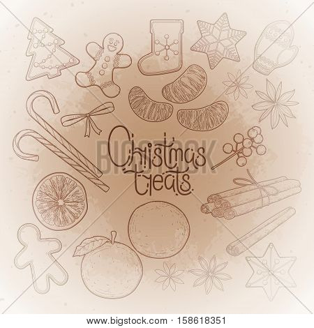 Huge collection of graphic Christmas treats. drawn in line art style. elements isolated on the vintage background in ocher colors.