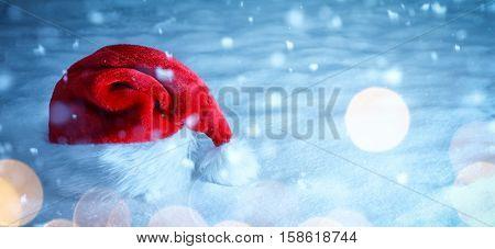 christmas santa hat on snow,Christmas decoration.