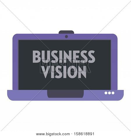 Isolated purple laptop with the text business vision written on its screen