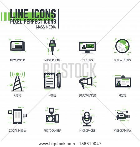 Mass media line pixel style icon set. News and media related items. Green and black colors. Tv with news phone with social media.