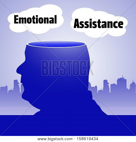 Abstract colorful background with a man with his head sliced off and the text emotional assistance written on two clouds