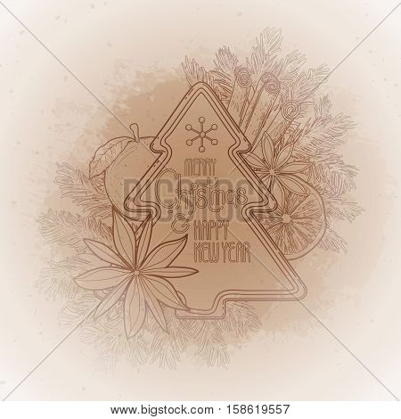 Christmas design with gingerbread, fir, mandarin and cinnamon. Vector card isolated on the vintage background in ocher colors.