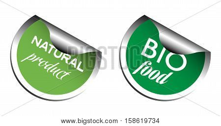 Two green stickers with the text bio food and natural product isolated on a white background