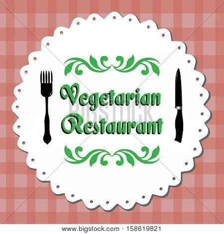 Colorful illustration with fork, knife and the text vegetarian restaurant written in green
