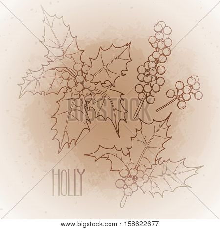 Christmas collection of graphic holly leaves and berries drawn in line art style isolated on the vintage background in ocher colors.