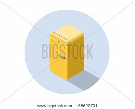 Vector isometric illustration of yellow fridge, 3d flat refrigerator, kitchen equipment object, home constructor element