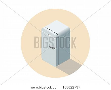 Vector isometric illustration of  fridge, 3d flat refrigerator, kitchen equipment object, home constructor element.