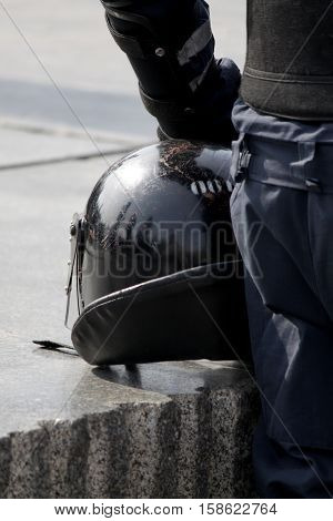 threadbare protective helmet Ukrainian police stock photo