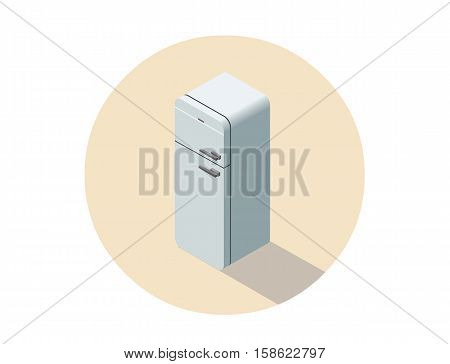 Vector isometric illustration of white fridge, 3d flat refrigerator, kitchen equipment object, home constructor element