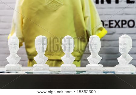 Moscow Russia November 17 2016: 4th Annual International Conference and Exhibition of 3D printing and scanning 3D Expo 2016 in Moscow. 3D models of world politicians