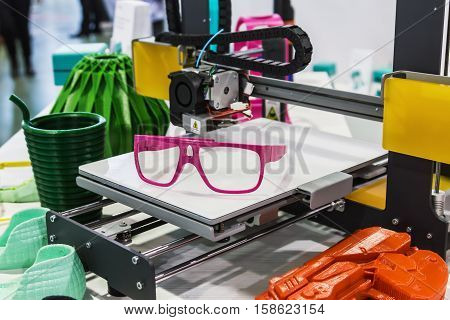 Moscow Russia 17 November 2016: The 4th annual international conference and exhibition of 3D-printing and scanning 3D-Expo 2016 in Moscow. exhibits and objects on display