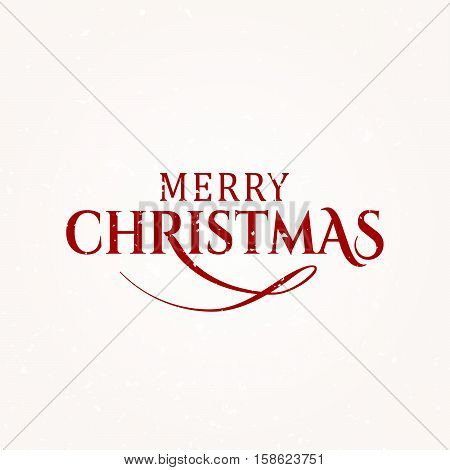 Vector illustration of Merry Christmas vector text typography design card template. Retro graphic Christmas element for holiday greeting gift poster. Old font style banner with grunge texture