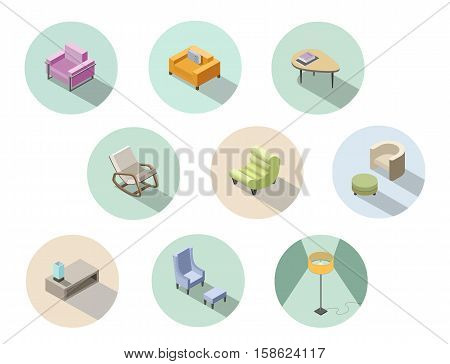 Vector isometric set of modern living room furniture, home constructor, armchair, pouf, floor lamp, coffee table, 3d flat design, rocking chair, interior design elements.