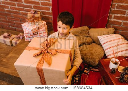 boy got a great gift for Christmas, birthday