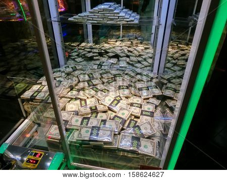 Las Vegas, United States of America - May 11, 2016: Slot machines in the Fremont Casino at Las Vegas, United States of America at May 11, 2016