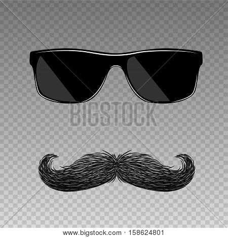 Realistic fake old fashion mustache with modern glasses. Hipster style.
