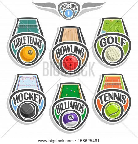 Vector set sports logo with ball, table tennis, bowling alley, golf course lawn, hockey puck on ice rink, billiards pool, tennis ground court, abstract sign sporting club, line ball isolated on white