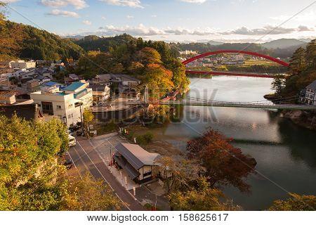 YANAIZU , JAPAN - OCTOBER 24, 2016 : Yanaizu is a town located in Kawanuma District, Fukushima Prefecture, in northern Honshu, Japan