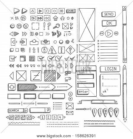 Hand drawn vector icons set website development doodles elements. Collection of web or decorating elements.