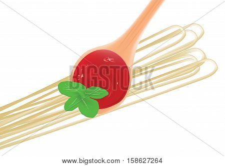 tablespoon of tomato sauce with basil and pasta