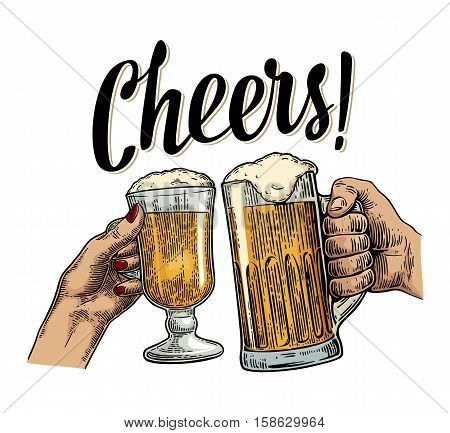 Female and male hands holding and clinking with two glasses beer. Cheers toast lettering. Vintage vector color engraving illustration for web poster invitation to beer party. Isolated on white background.