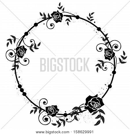 vector frame with flowers of roses in black and white colors