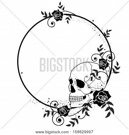 vector frame with skull and roses in black and white colors