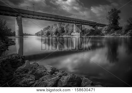 Bridge over the river Sava iz Zagreb Croatia poster