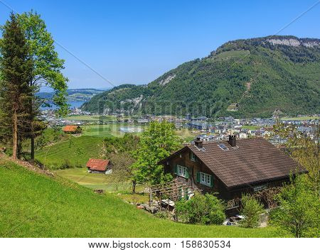 Stans, Switzerland - 7 May, 2016: view on the town of Stans from the lower part of Mt. Stanserhorn. Town of Stans is the capital of the Swiss Canton of Nidwalden.