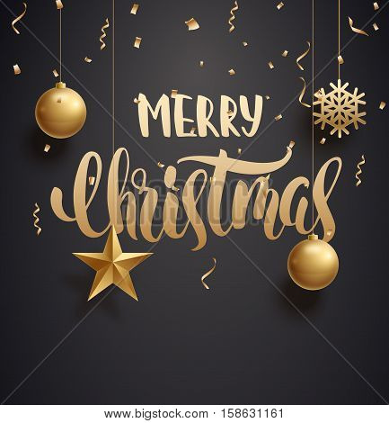 vector illustration of vector illustration of merry christmas 2017 gold and black collors place for text christmas balls