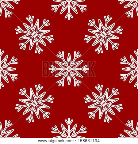 Vector Seamless Pattern of White Snowflakes on a Red Background. Texture for invitation card, fabric, paper and other Christmas holidays wrapped projects. Snowflake Pattern in swatches panel.