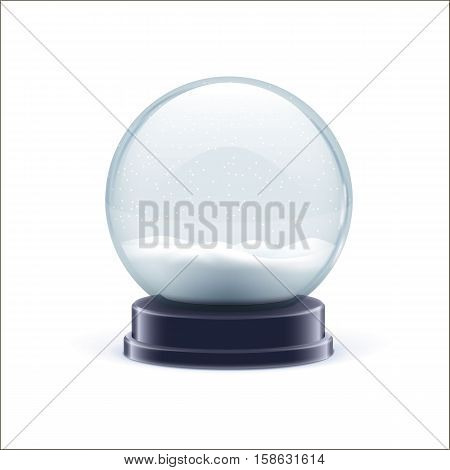 vector illustration of snow globe ball realistic chrismas object isolated on white with shadow