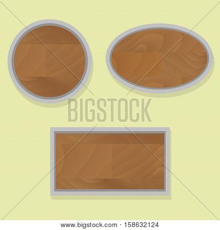 Texture signboard and billboard frame pf wood banner vector illustration